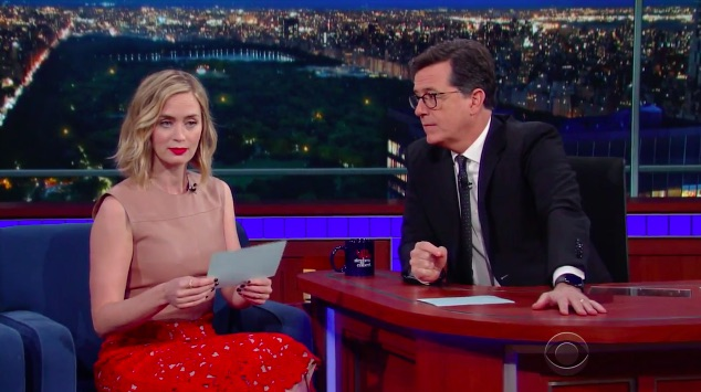 """Emily Blunt and Stephen Colbert scream at each other in a """"line reading contest,"""" and someone please give them their own Broadway show immediately"""