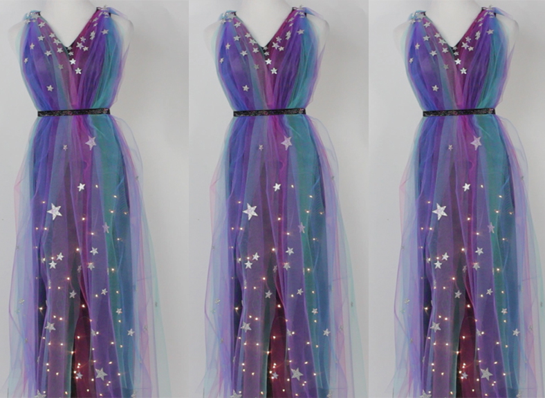 Get your ethereal glam on with this DIY, light-up galaxy dress