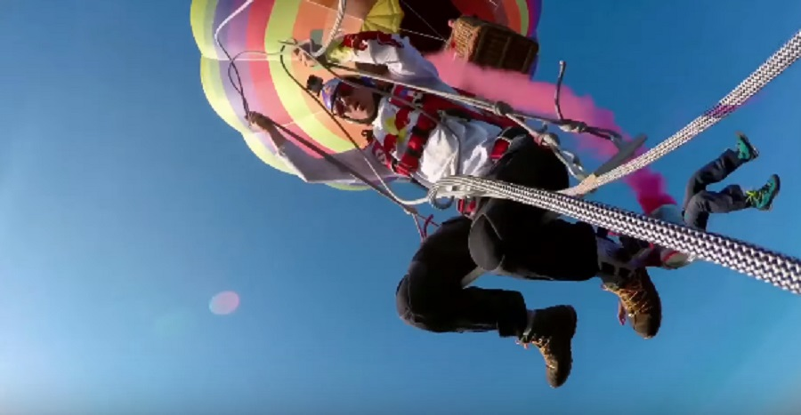 This video of skydivers swinging from hot air balloons will excite your inner daredevil