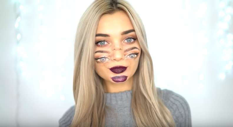 "How to do ""double vision"" makeup for Halloween, so you can freak people out with your two sets of eyes"