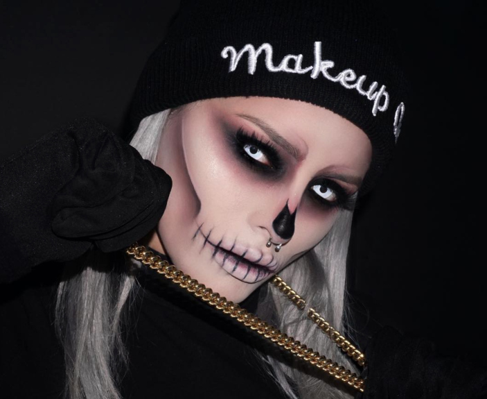this epic skull makeup is perfect for halloween and also super affordable. Black Bedroom Furniture Sets. Home Design Ideas
