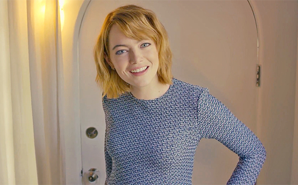 "We're kind of obsessed with the fringe top Emma Stone wore during her ""73 Questions"" video"