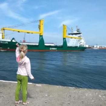 Little girl honks at ship, adorably freaks out when it returns the favor
