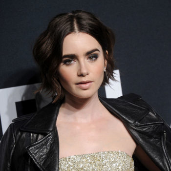 Lily Collins' glitter eye look is absolutely perfect for a glamorous night out