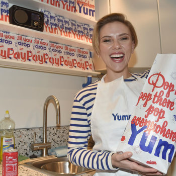 Scarlett Johansson looks too adorable for words at the opening of her Parisian popcorn shop