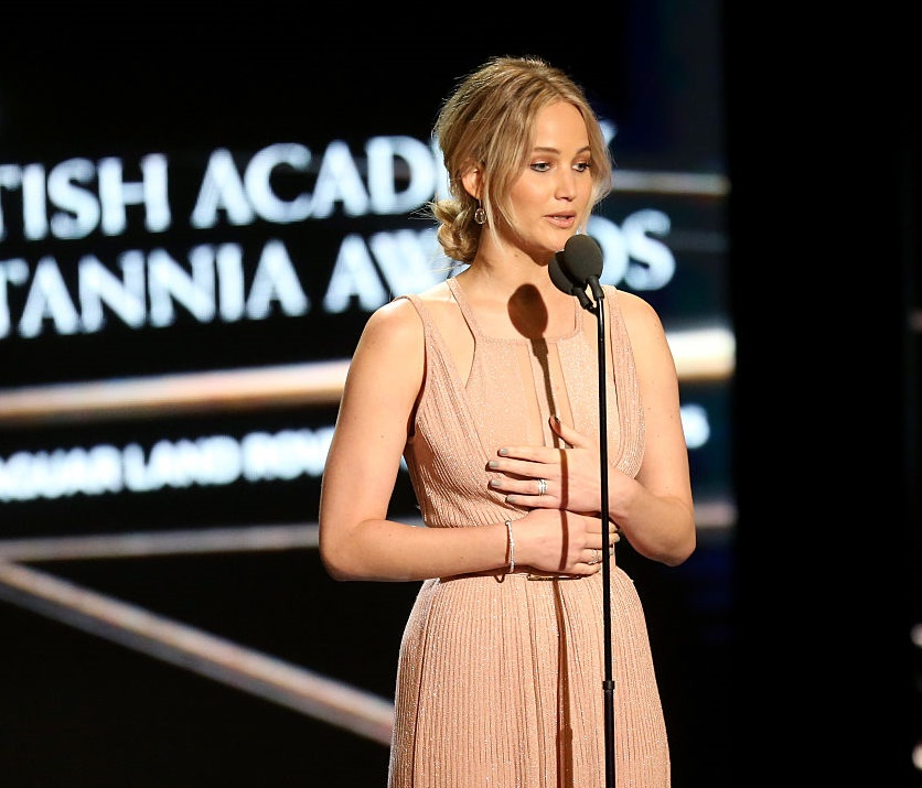 Jennifer Lawrence wore the most stunning blush gown on the red carpet, and we're fangirling out of control