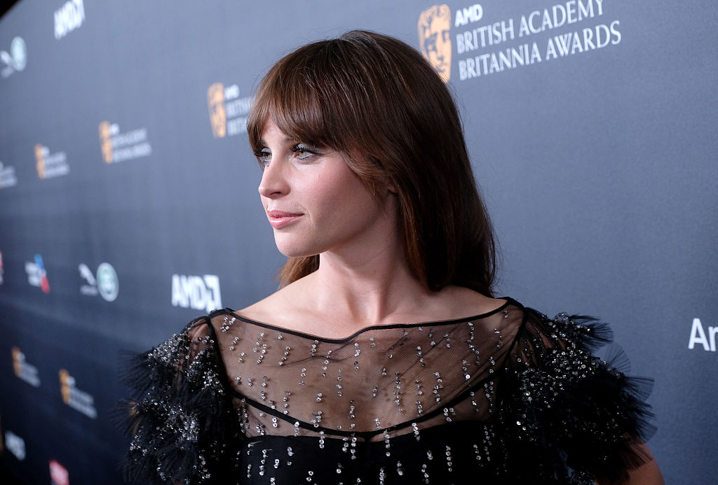 Felicity Jones wore the most gorgeous black and silver ruffled gown we've ever seen