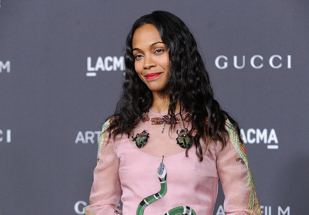 Zoe Saldana stunned in a gorgeous gown covered in SNAKES
