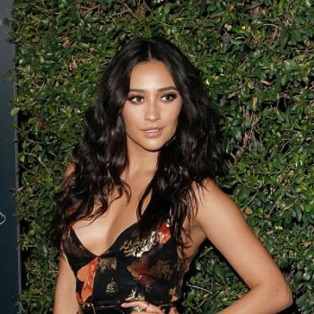 "Shay Mitchell looks like an ethereal bohemian goddess in this floral gown at the ""Pretty Little Liars"" celebration"