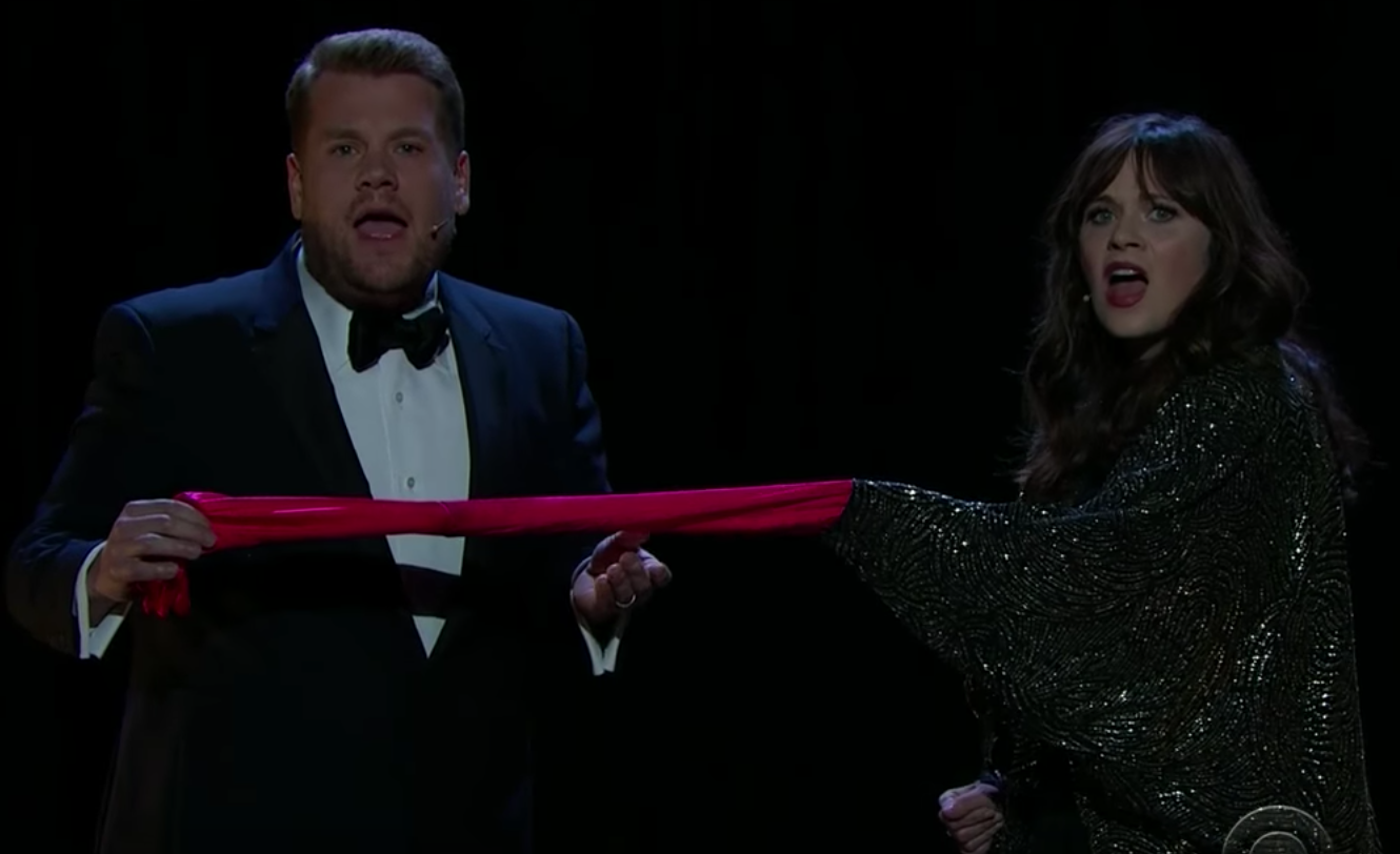 "James Corden and Zooey Deschanel's take on ""Endless Love"" will have you giggling"