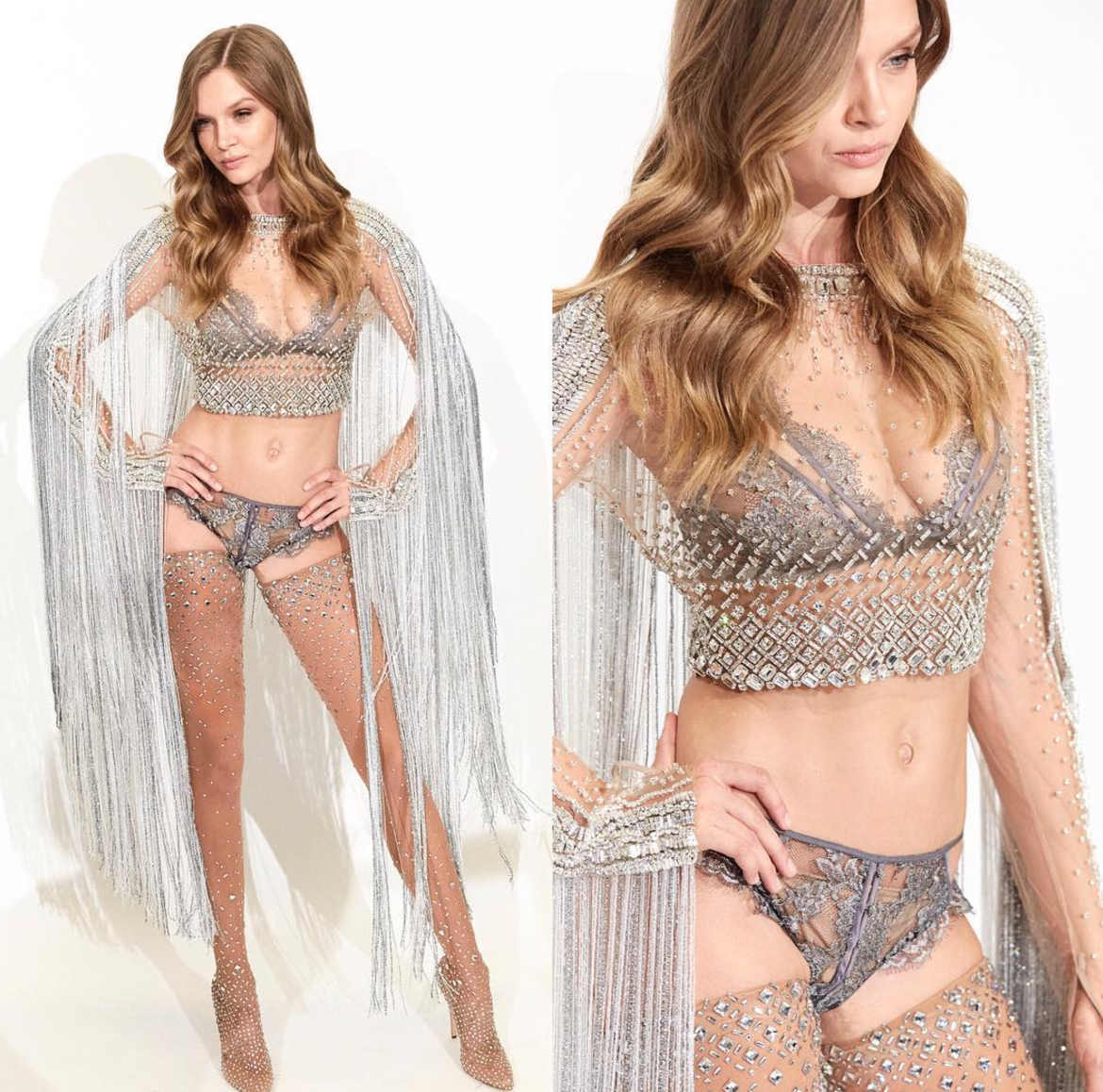 Here's what 20 pounds of crystal lingerie looks like on a Victoria's Secret model