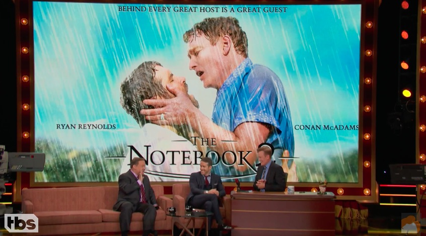 "Ryan Reynolds and Conan O'Brien making out in this ""Notebook"" parody is the gift we didn't even know we needed"