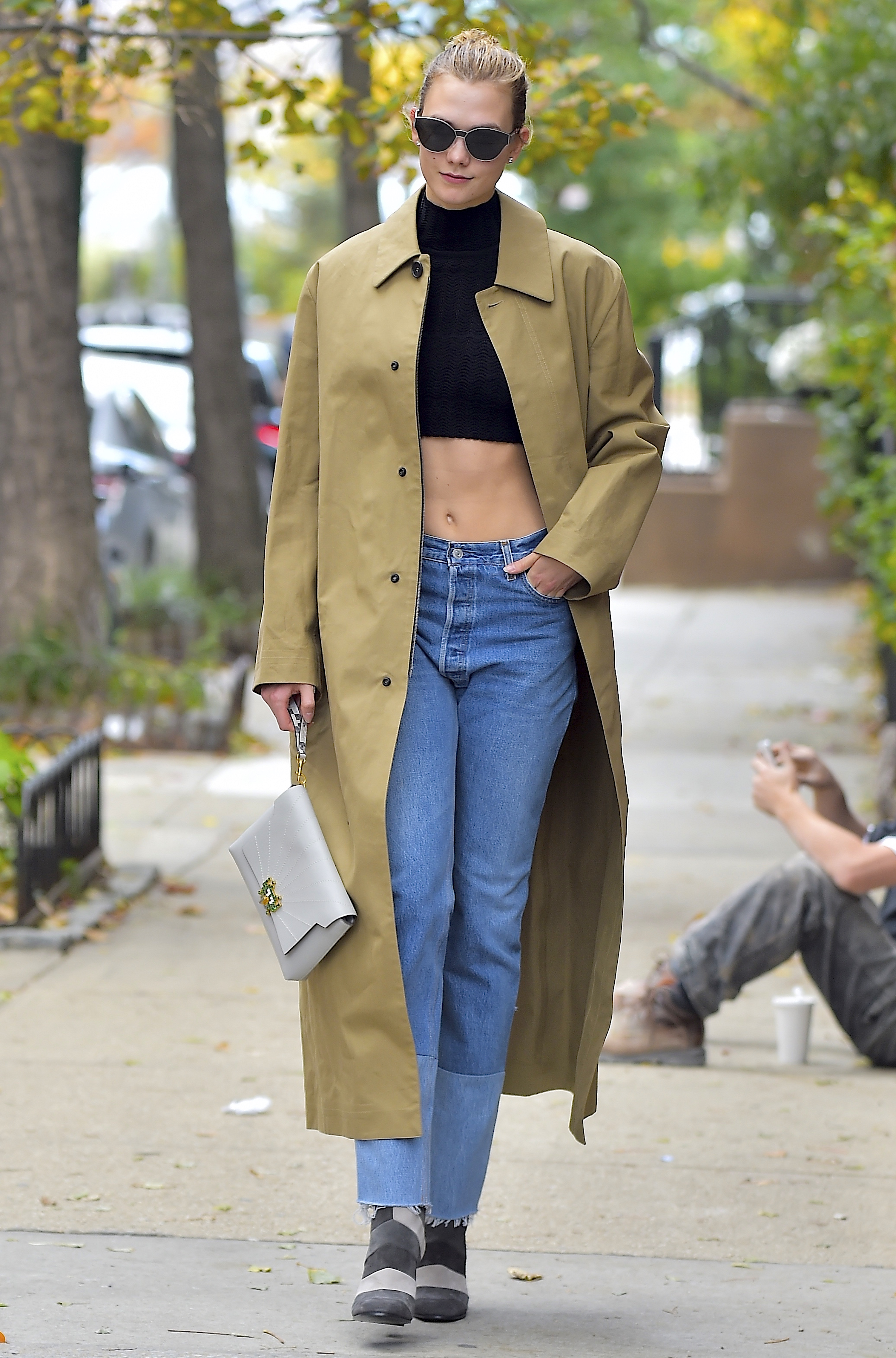 Karlie Kloss Trench Coat And Crop Top Combo Is Perfect
