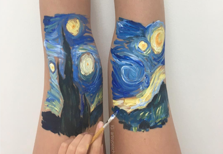 This artist re-creates stunning masterpieces on her legs, and our eyes are so happy