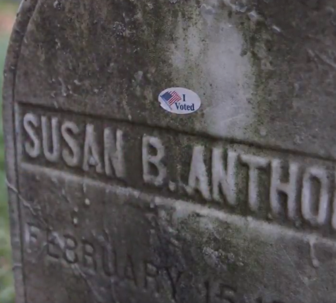 "Women are covering Susan B. Anthony's gravestone in ""I Voted"" stickers, we're crying"
