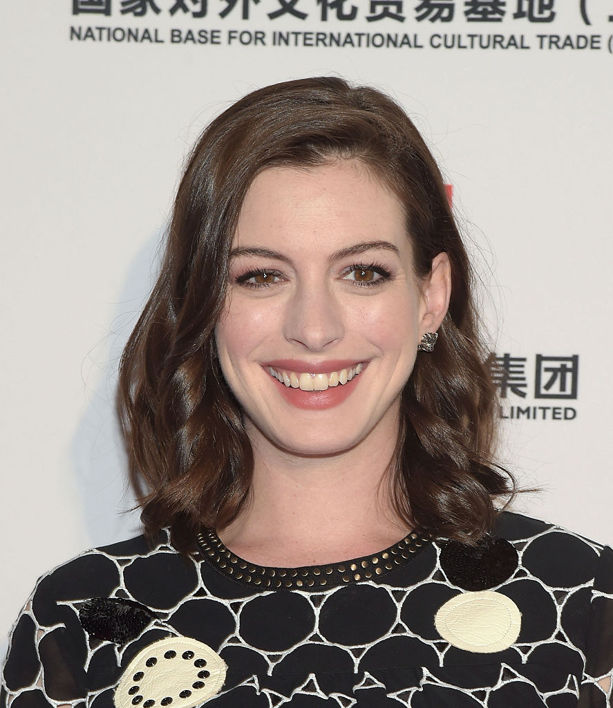 Anne Hathaway is all smiles after voting today and so are we