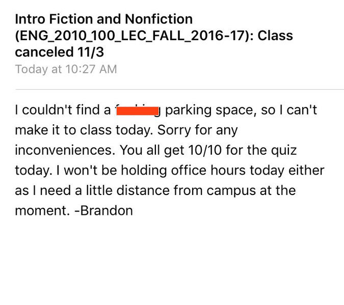 This professor canceled class for a hilarious reason, his email is going viral