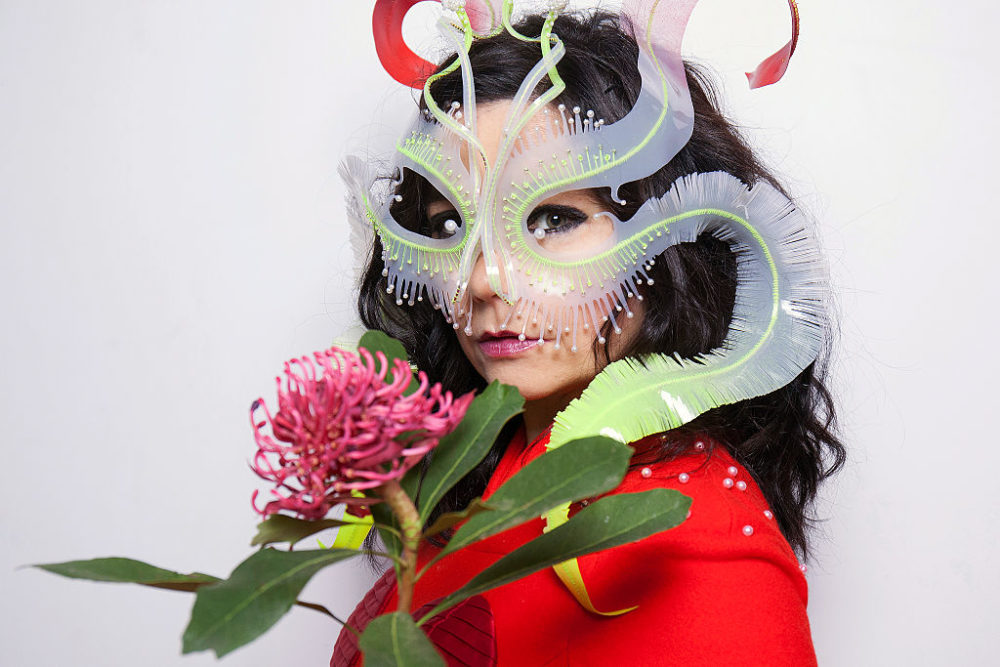 Björk performed with the most amazingly beautiful masks and we're completely entranced