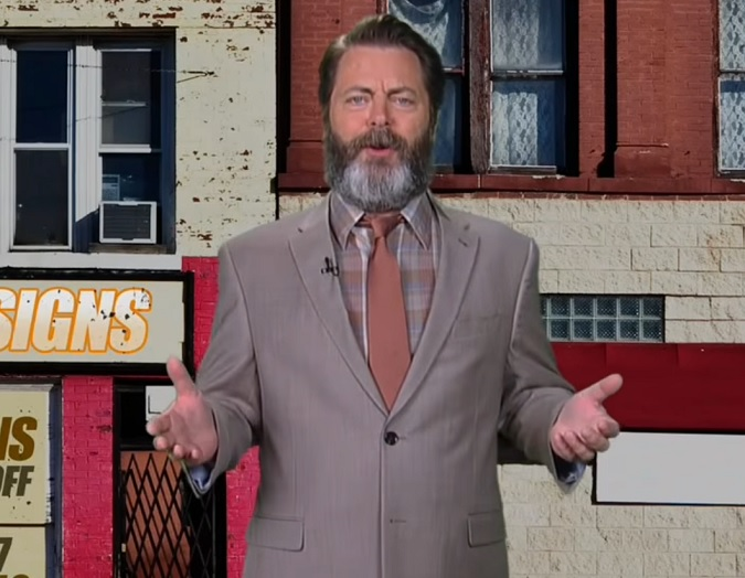 Nick Offerman, aka Ron Swanson, is selling you yard signs in this amazing ad