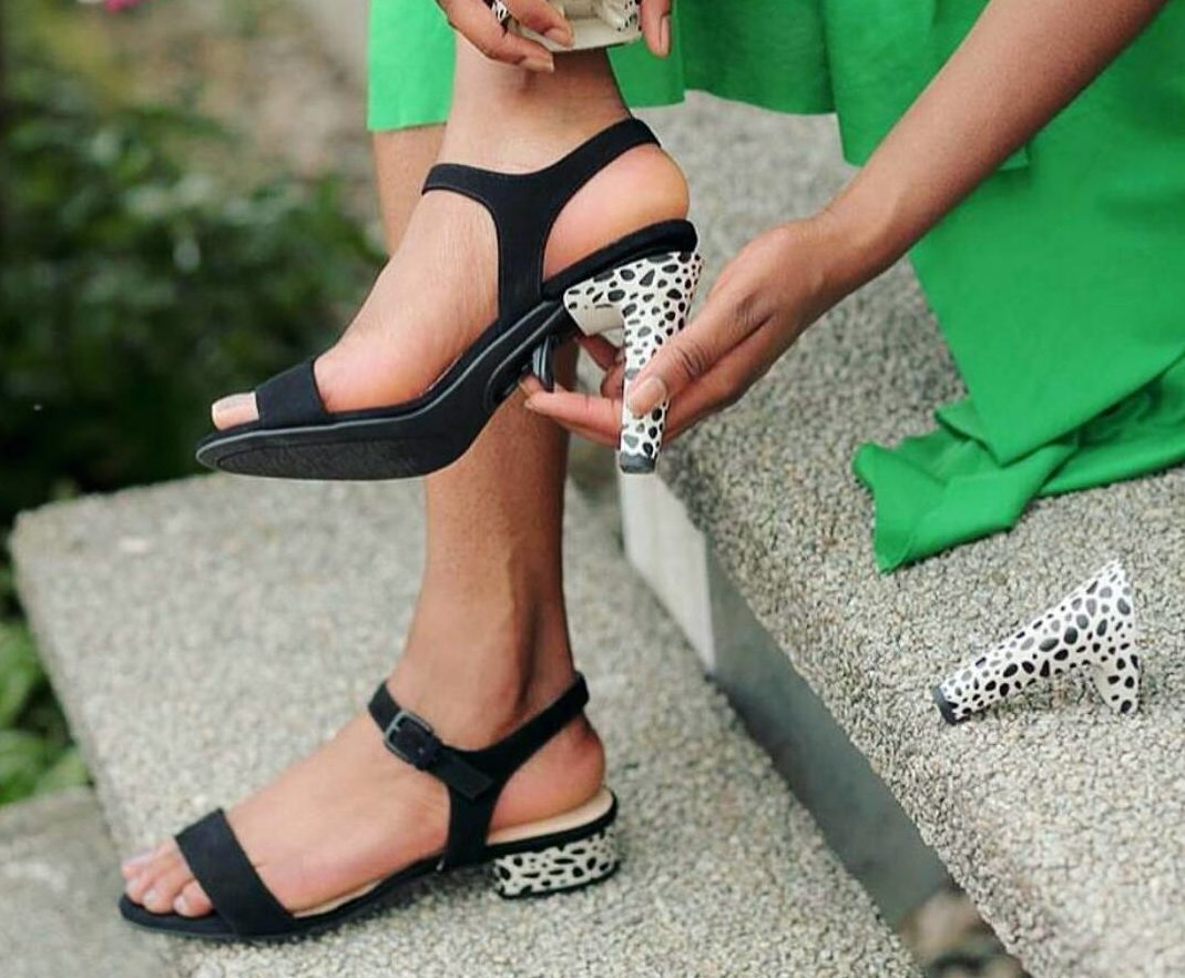 These heels can be transformed into flats with one quick switch
