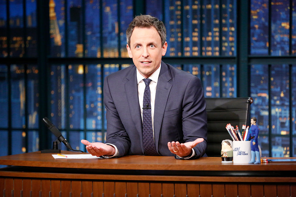 Seth Meyers chokes up while addressing the first future female president, wherever she may be right now