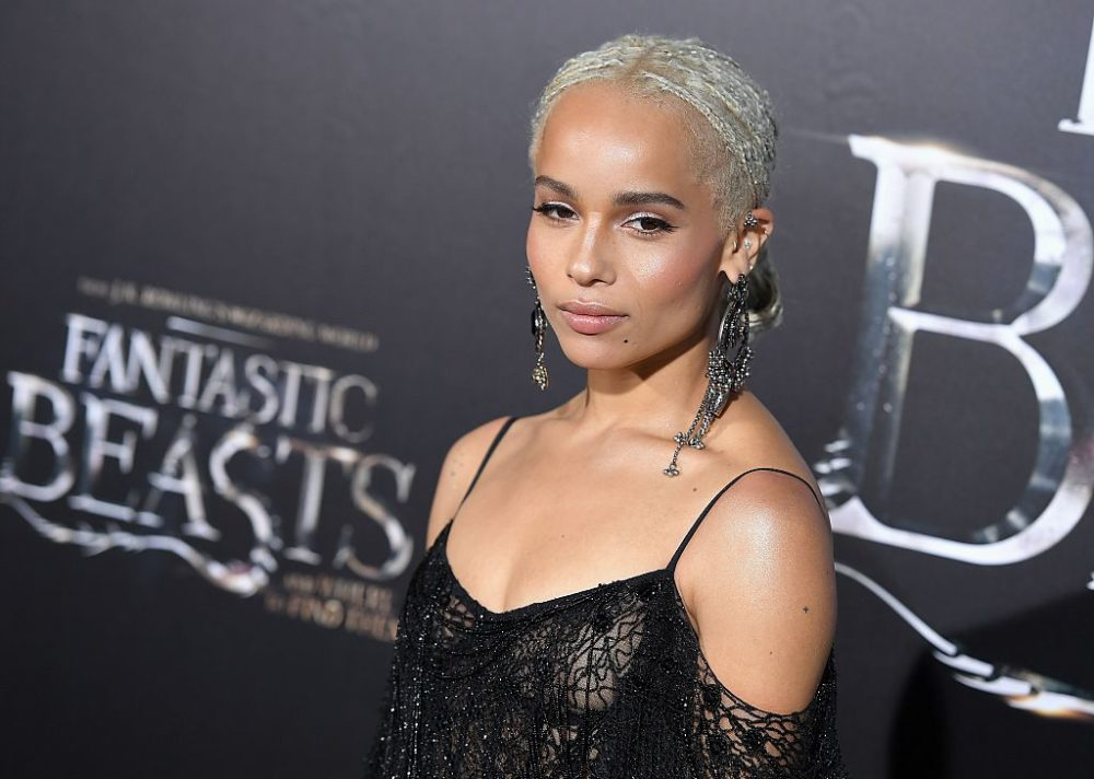 "Zoë Kravitz looked like an enchanted silver-haired witch in a mesh gown at the ""Fantastic Beasts"" premiere"