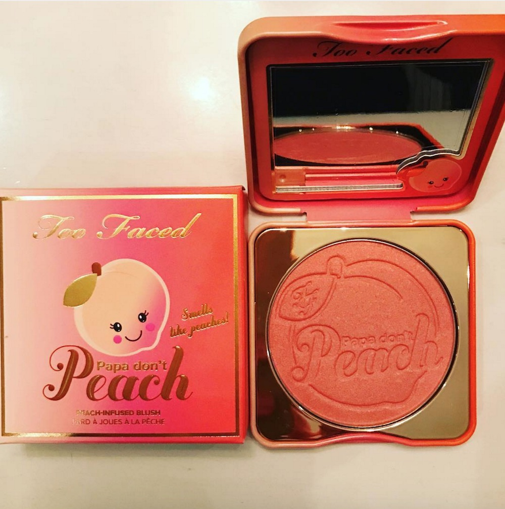 We have been #blessed with a close-up shot of Too Faced's Papa Don't Peach blush