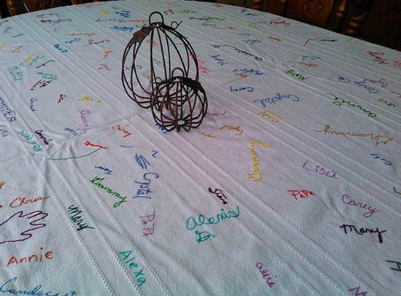 This Thanksgiving tablecloth is our new fave DIY tradition