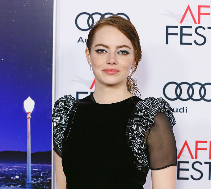 Emma Stone looks like a work of art in this printed maxi dress