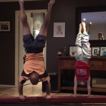 A dad attempted his daughter's gymnastics moves and it was an adorable fail-fest