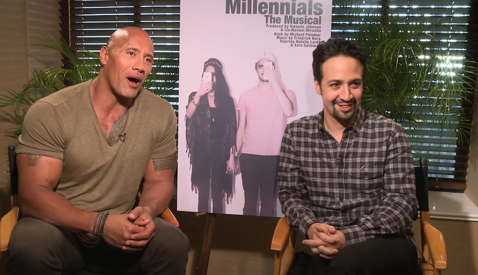 """This video for """"Millennials: The Musical"""" with Lin-Manuel Miranda and The Rock is seriously making us LOL"""