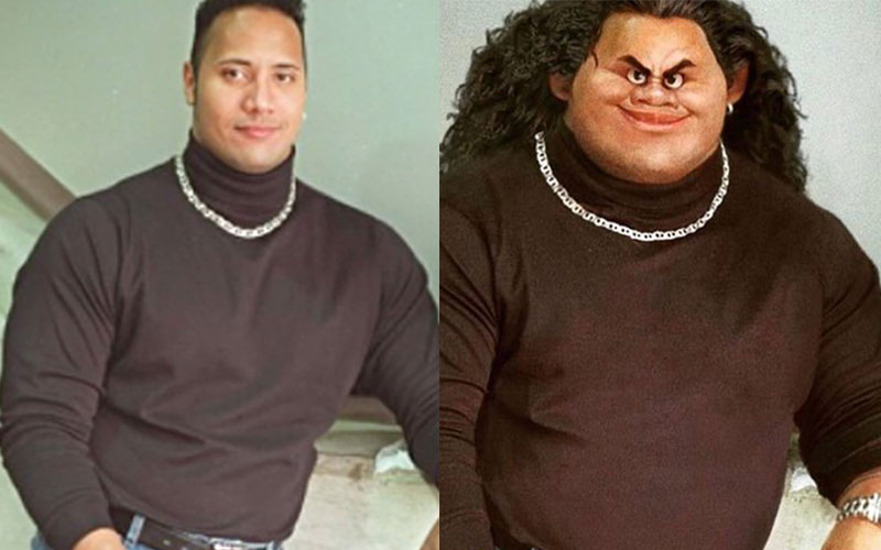 "Someone photoshopped The Rock's ""Moana"" character into his iconic #TBT photo and OMG it's perfect"