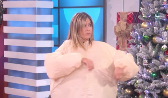 Jennifer Aniston donned a giant cushy pillow suit and played charades, and, we needed this