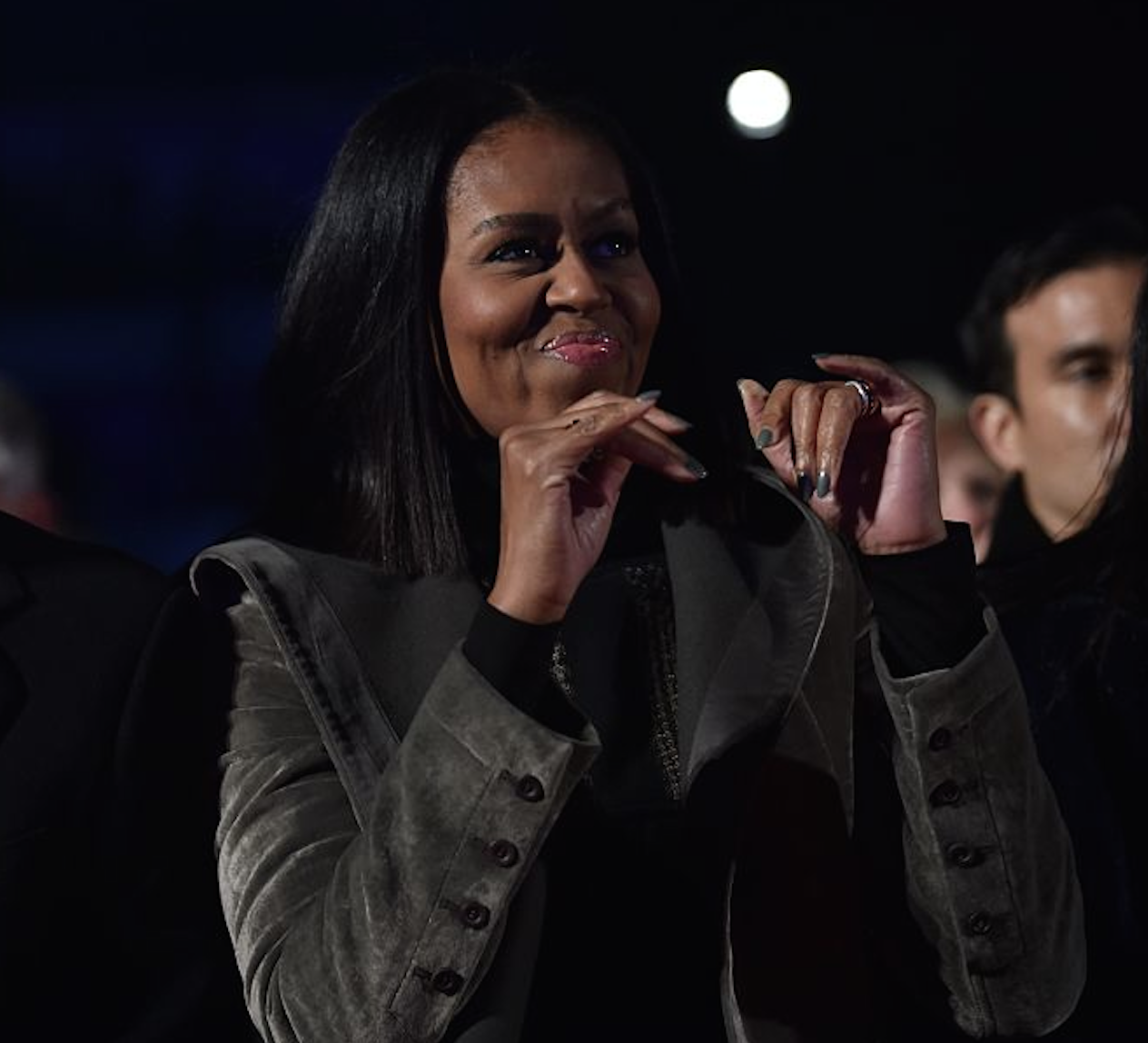 Michelle Obama looked like a shining star at her final Christmas tree lighting