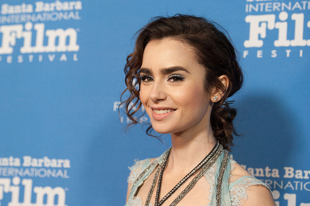 Lily Collins looked like a medieval princess in her powder blue gown