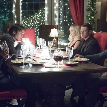 "Your first look at ""The Vampire Diaries"" Christmas episode is here — mistletoe, tree decorating and danger! Oh my!"