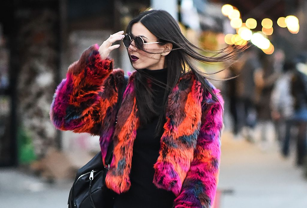 Victoria Justice just hit peak winter fashion goals in a neon fur jacket, and we know where you can get it
