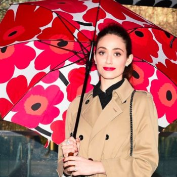 Emmy Rossum looks like the most elegant checkerboard ever in this dress