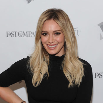Hilary Duff's workout leggings are made up of an edgy pattern we're lusting after