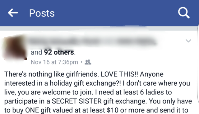 """Beware of the """"Secret Sister Gift Exchange"""" scam that's going around Facebook"""