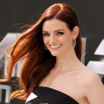 Lydia Hearst won the red carpet in this gorgeous floral-goth gown