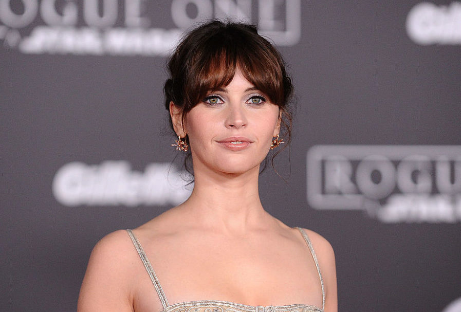 "Felicity Jones is an actual Star Wars princess with a dress to match on the ""Rogue One"" red carpet"