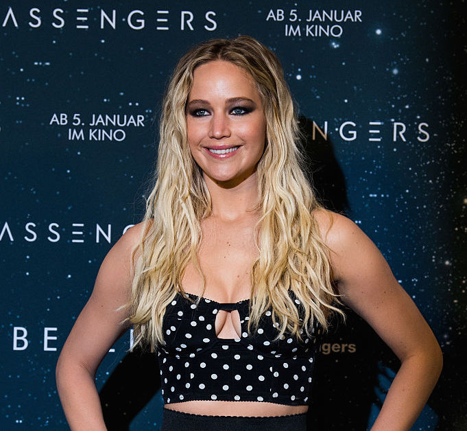 Jennifer Lawrence radiates confidence in a bejeweled nude bodice