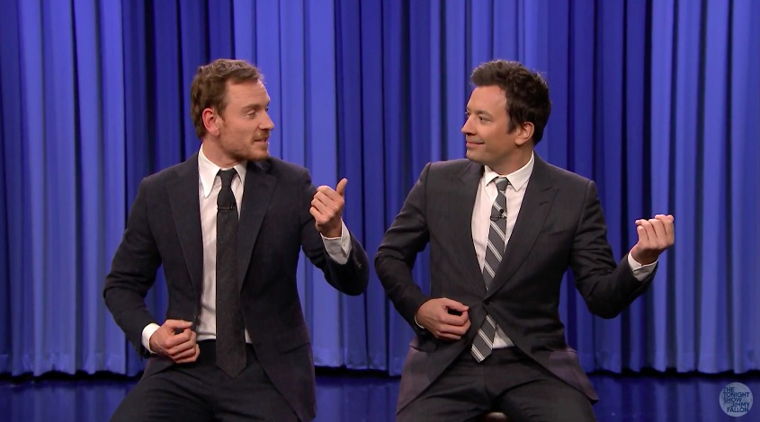"Jimmy Fallon and Michael Fassbender faced off in the most epic of air guitar battles on ""The Tonight Show"""