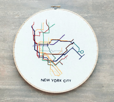 subway system embroidery