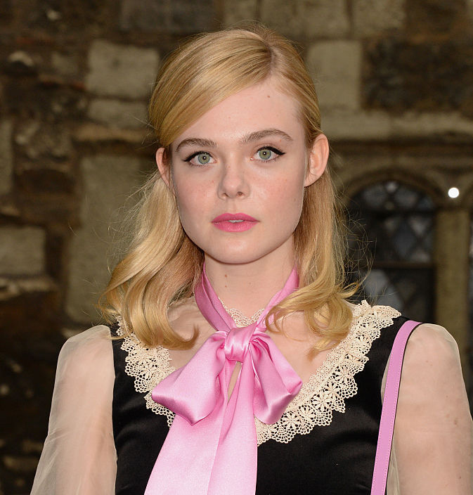 Elle Fanning looks like a Valentine's Day vixen in this princess pink dress