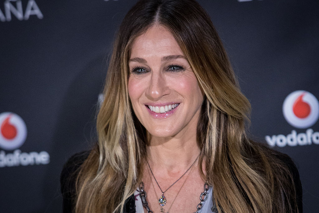 Sarah Jessica Parker looks ready for goth tea-time in this black lace dress