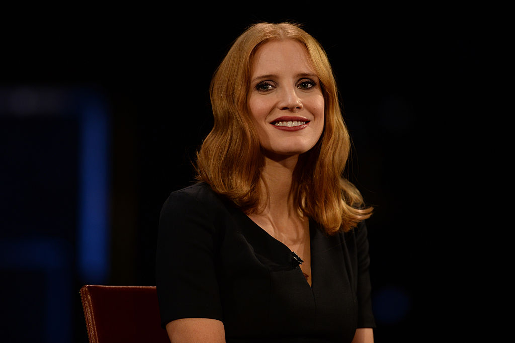 Jessica Chastain went with really dark hair for winter