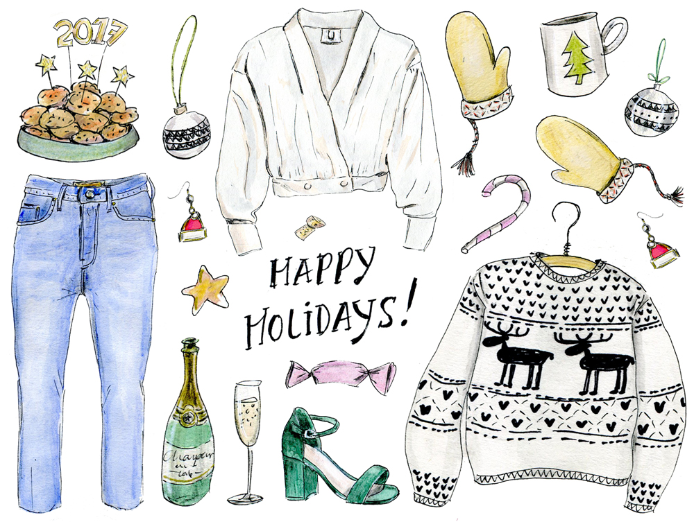 Your comfy-chic holiday outfit, illustrated