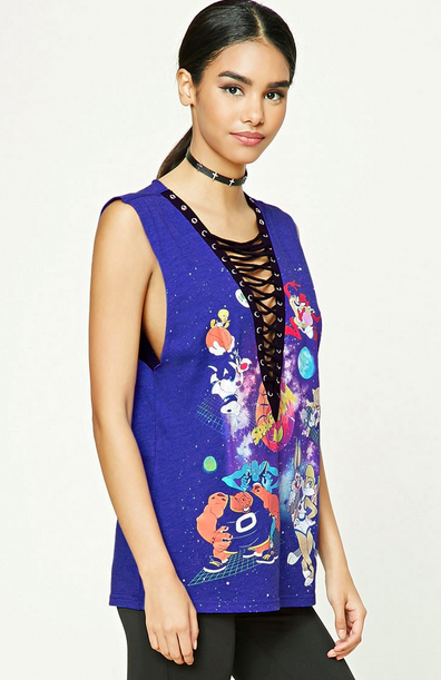 forever-21-looney-tunes-lace-up-top